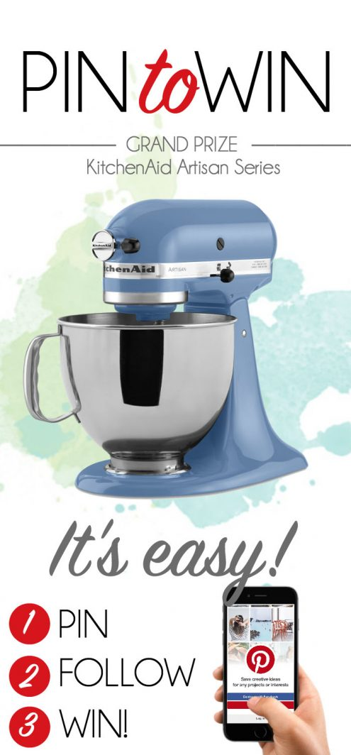 Pin to Win Giveaway! Win an awesome Kitchen Aid Mixer on www.cookingwithruthie.com