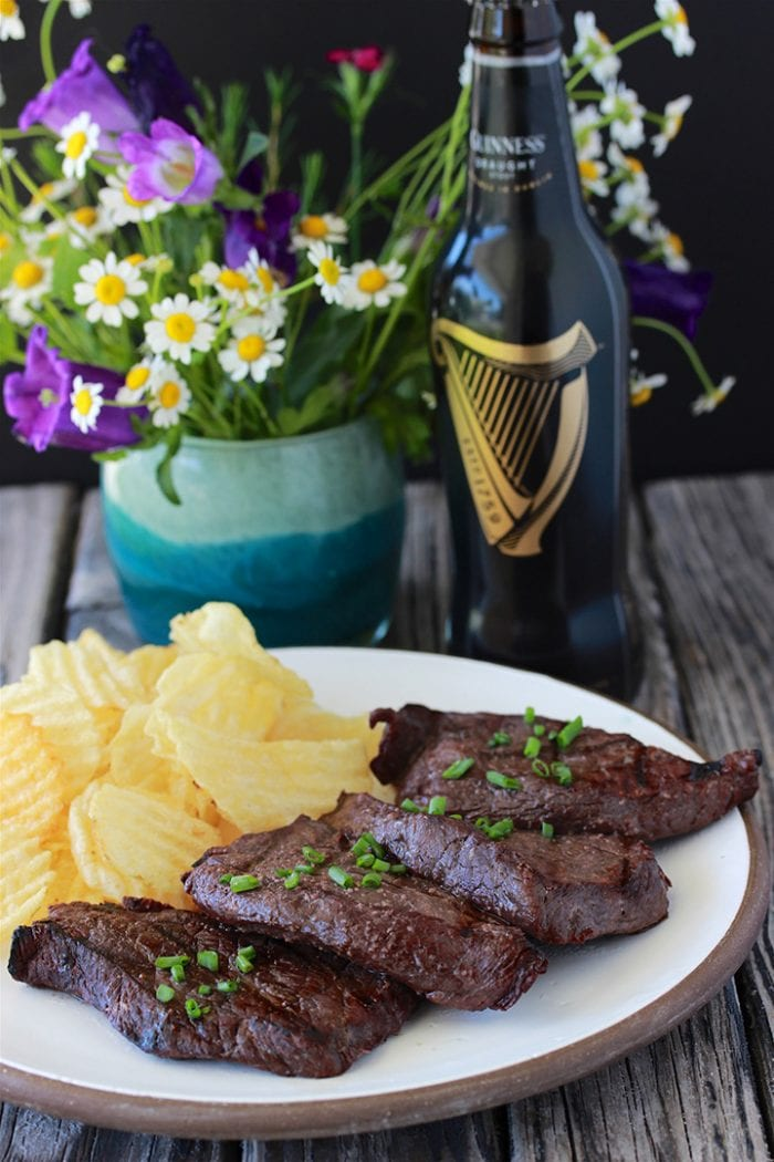 Grilled Red Wine and Garlic Elk Steak Recipe is a flavorful marinade for elk, venison, and even beef steaks! by cookingwithruthie.com