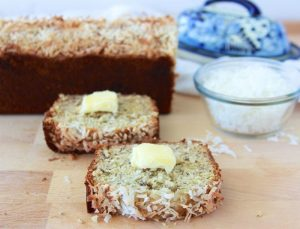 Coconut Banana Bread is going to be a new favorite with your family! Delish!! www.cookingwithruthie.com