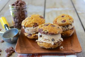 Pumpkin Chocolate Chip Ice Cream Sandwich is an early autumn delight! www.cookingwithruthie.com