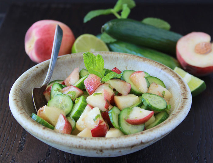 White Peach, Cucumber, Mint Salad is a refreshing salad for summer! www.cookingwithruthie.com
