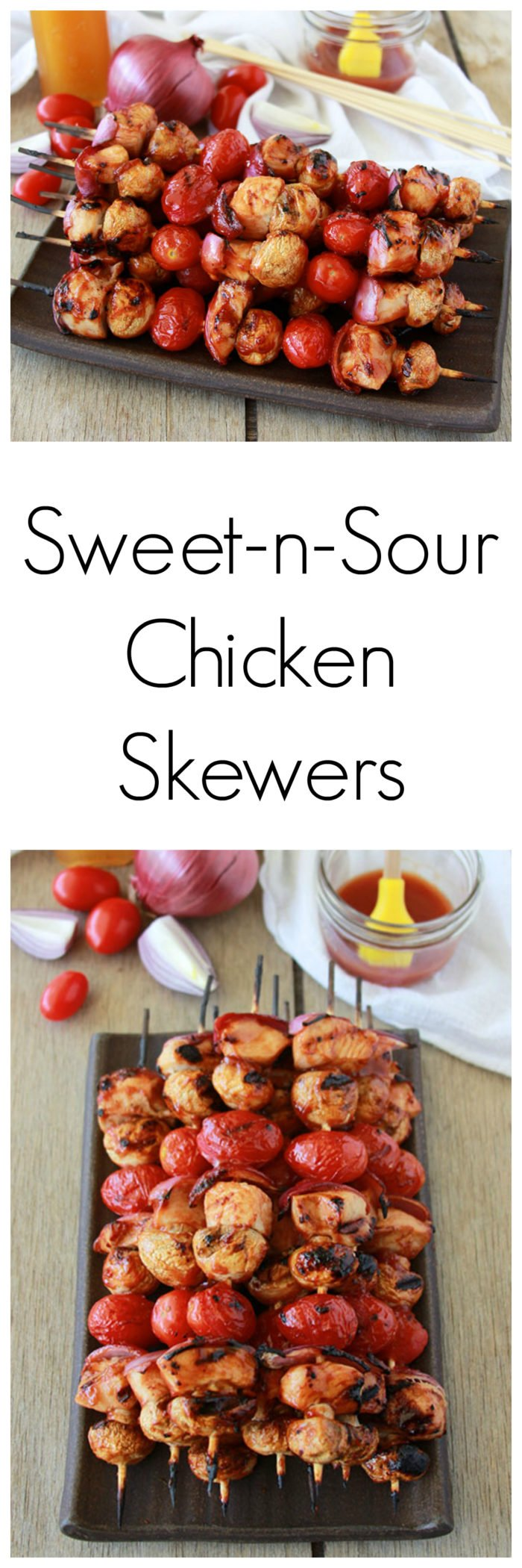 Sweet-n-Sour Chicken Skewers are simple to make and great for summer! www.cookingwithruthie.com