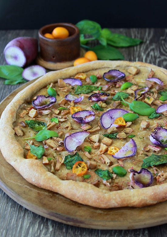 Jackfruit Vegan Pizza is a packed with flavor plus it's simple, healthy, and nutritious! www.cookingwithruthie.com #TheRecipeisSimple #ad @bertolli