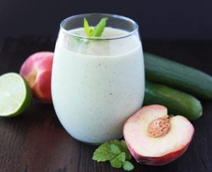 White Peach, Cucumber, Mint Smoothie is a refreshing combination of flavors and ever so lovely! www.cookingwithruthie.com