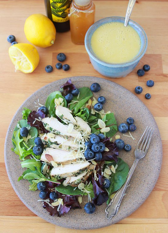 Blueberry, Almond, Chicken Salad with Lemon Honey Vinaigrette is a fresh and filling healthy lunch! www.cookingwithruthie.com