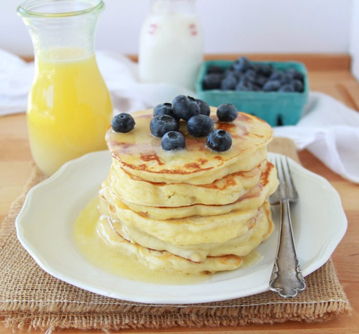 Today's Buttermilk Greek Yogurt Pancakes Recipe are fluffy and moist even without a drop of oil in the recipe! by cookingwithruthie.com