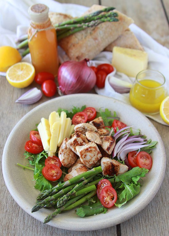 Chicken, Asparagus, Tomato Salad is not your average salad... it's SO good! www.cookingwithruthie.com
