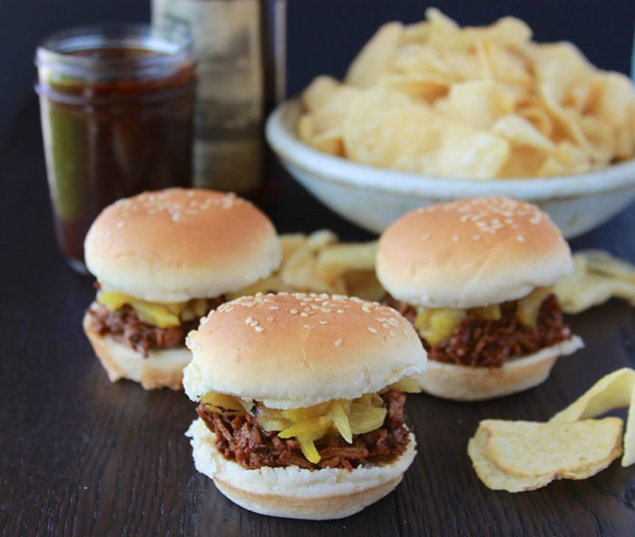 Chipotle Pineapple BBQ Beef Sliders are a slow cooker recipe and awesome for parties! www.cookingwithruthie.com