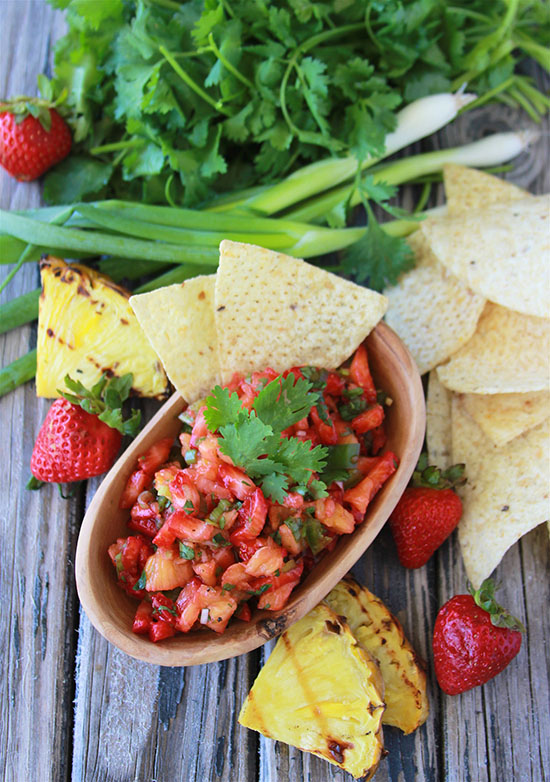 Grilled Pineapple Strawberry Salsa is fabulous new spin on fresh salsa! Make a double batch because it'll disappear! www.cookingwithruthie.com