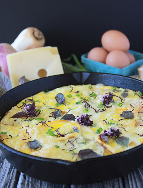 Root Vegetable Frittata is a lovely addition to your breakfast! www.cookingwithruthie.com