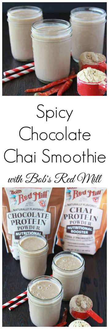 Spicy Chocolate Chai Smoothie is flavorful, nutritious, and simple to make anytime of day! www.cookingwithruthie.com @bobsredmill #spon