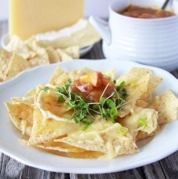 Brie, Swiss, Apple Butter Nachos is decadent autumn appetizer that you'll fall in love with! www.cookingwithruthie.com