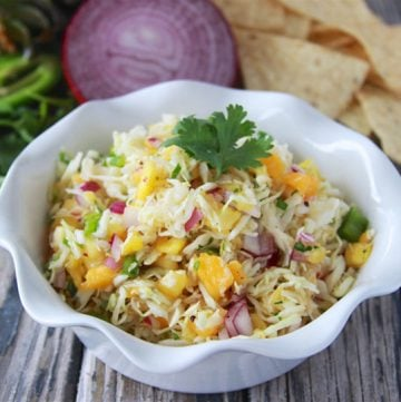 Papaya Pineapple Coleslaw has go to make an appearance before the summer is gone! www.cookingwithruthie.com