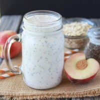 Peaches and Cream Chia Smoothie is wonderful with summer fresh peaches! www.cookingwithruthie.com