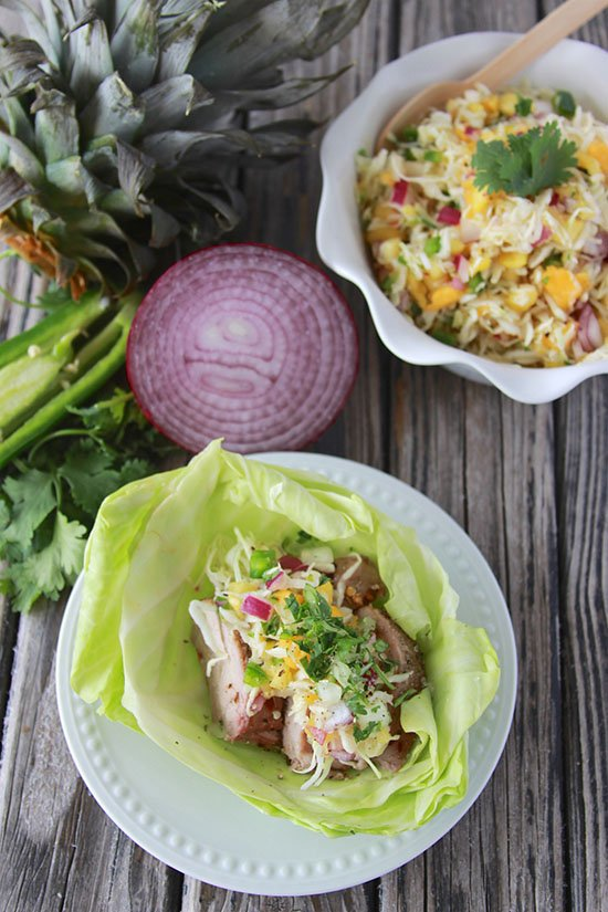 Pork Cabbage Bowl with Papaya Slaw is a tasty low-carb dinner that tastes heavenly! www.cookingwithruthie.com