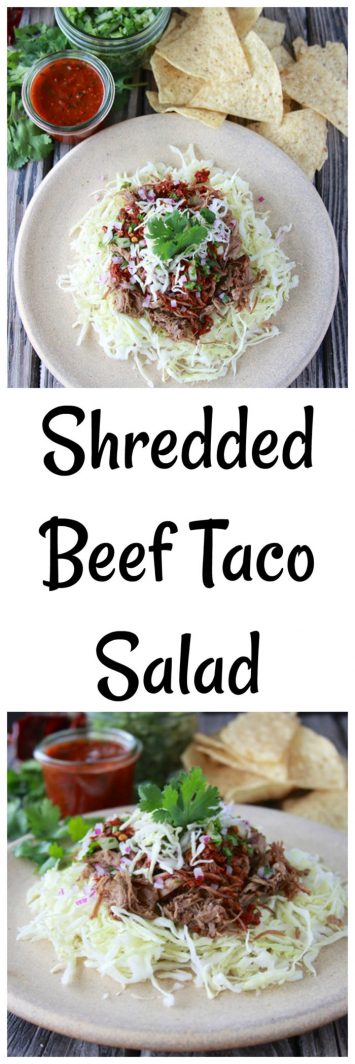 Shredded Beef Taco Salad is a filling lunch or dinner for any day! www.cookingwithruthie.com
