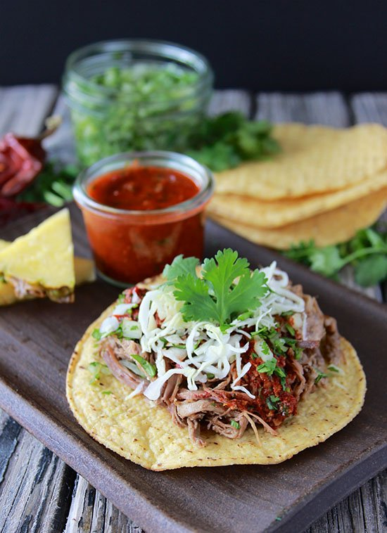 Shredded Beef Tostada is a filling and festive week night dinner! www.cookingwithruthie.com