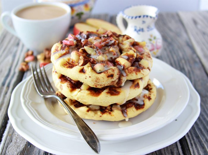 #ad Apple Walnut Cinnamon Roll Waffles with Cider Glaze is a super quick and yummy way to celebrate every day! #madeathome www.cookingwithruthie.com @walmart @pillsbury