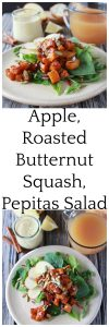 Apple, Roasted Butternut Squash, Pepitas Salad is fabulous for all your fall gatherings! www.cookingwithruthie.com