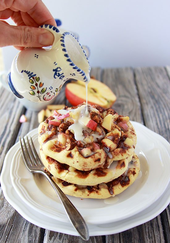 Apple Walnut Cinnamon Roll Waffles with Cider Glaze is a super quick and yummy way to celebrate every day! #madeathome www.cookingwithruthie.com #ad @walmart