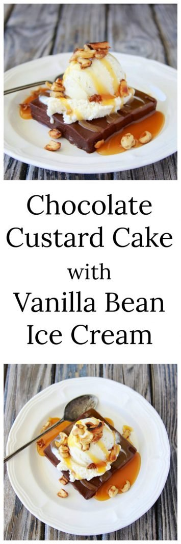 Chocolate Custard Cake with Vanilla Bean Ice Cream will impress the pickiest guest! www.cookingwithruthie.com