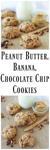 Peanut Butter, Banana, Chocolate Chip Cookies are a healthy but don't be fooled~ you'll be beggin' for more! www.cookingwithruthie.com