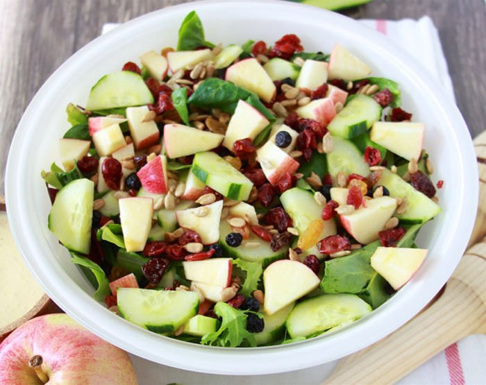 Apple Cucumber Tossed Salad is a healthy addition to any meal and perfect for fall! www.cookingwithruthie.com