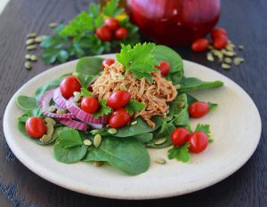 BBQ Chicken Spinach Salad is a healthy and quick meal to keep you full and happy! www.cookingwithruthie.com