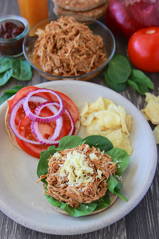 BBQ Shredded Chicken Sandwich is a slow cooker dinner that tastes amazing! www.cookingwithruthie.com
