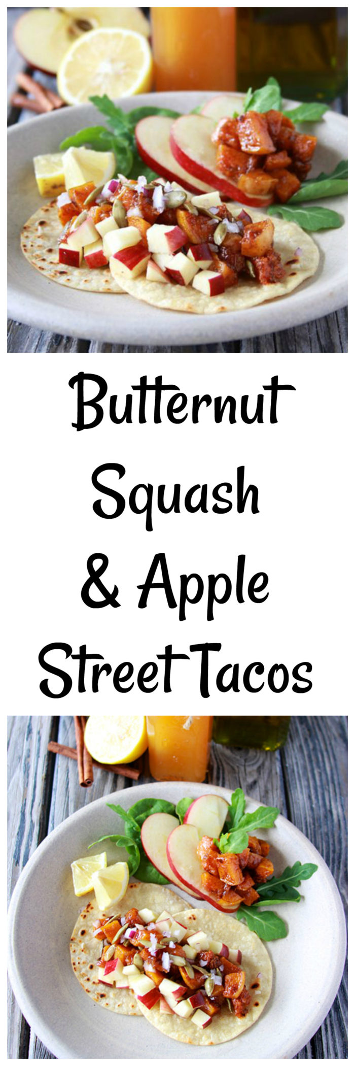 Butternut Squash and Apple Street Tacos is an delish autumn dinner!www.cookingwithruthie.com