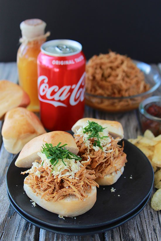 Honey Chipotle Chicken Sliders are a quick and easy meal to help your family with dinner through the busy holidays!  #CocaColaHoliday #spon @samsclub www.cookingwithruthie.com