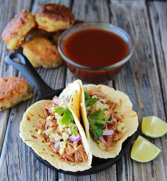 BBQ Jackfruit, Roasted Corn, Cilantro Street Tacos are so good you'll never guess they're vegan!