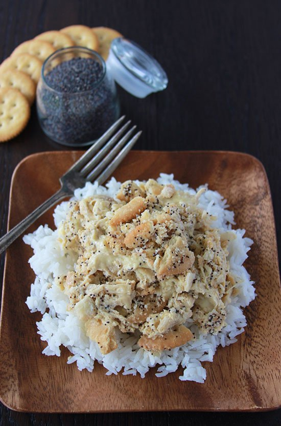 Poppyseed Chicken with Rice is a family favorite made healthier! www.cookingwithruthie.com