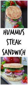 Hummus Steak Sandwich is hearty enough to keep you full and happy for hours! www.cookingwithruthie.com