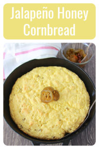 Our Jalapeño Honey Cornbread Recipe is the perfect side dish for soup or chili as the cold weather sets in. Today's honey jalapeño cornbread is sweet with a little bit of a spicy kick! Your family will love this cornbread recipe. Our recipe is made with cornmeal, honey, buttermilk, jalapeños (of course) and a few more ingredients. || cookingwithruthie.com #cornbread #sidedish #spicyfood
