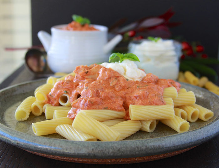 Today's Leftover Turkey & Rigatoni with Creamy Tomato Sauce Recipe is the perfect way to enjoy your holiday turkey after the feasting! by cookingwithruthie.com