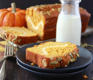 Skinny Pumpkin Cream Cheese Loaf is a family favorite in the autumn! www.cookingwithruthie.com