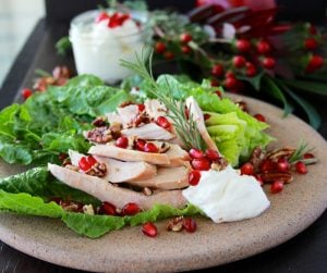 Turkey, Pomegranate, and Ricotta Salad is an awesome lunch for after the feasting! #turkey #cookingwithruthie.com