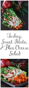Turkey, Sweet Potato, and Blue Cheese Salad is festive way to enjoy your turkey after the feasting! www.cookingwithruthie.com