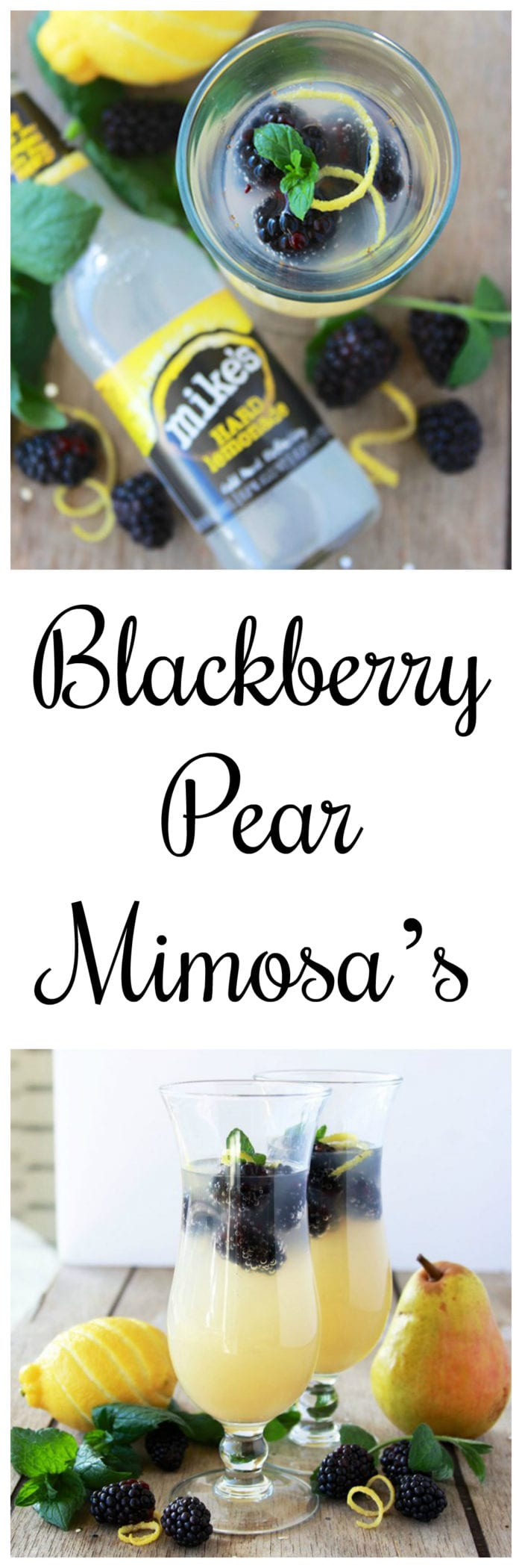 #ad Blackberry Pear Mimosas will bring happiness to your holiday brunch! #MikesHard #DrinkOnTheBrightSide www.cookingwithruthie.com