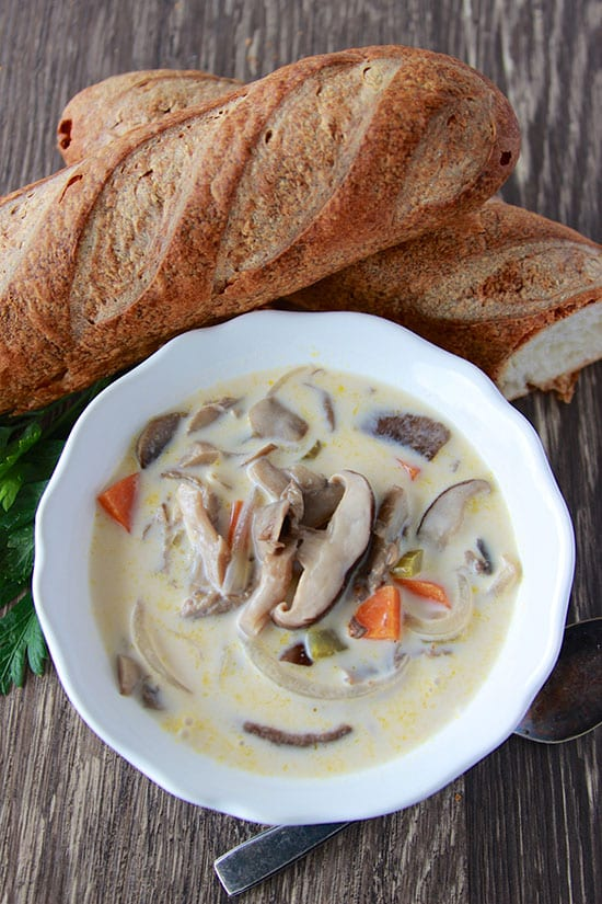 Creamy Mushroom Soup is flavorful and filling with 3 different kinds of mushrooms! www.cookingwithruthie.com