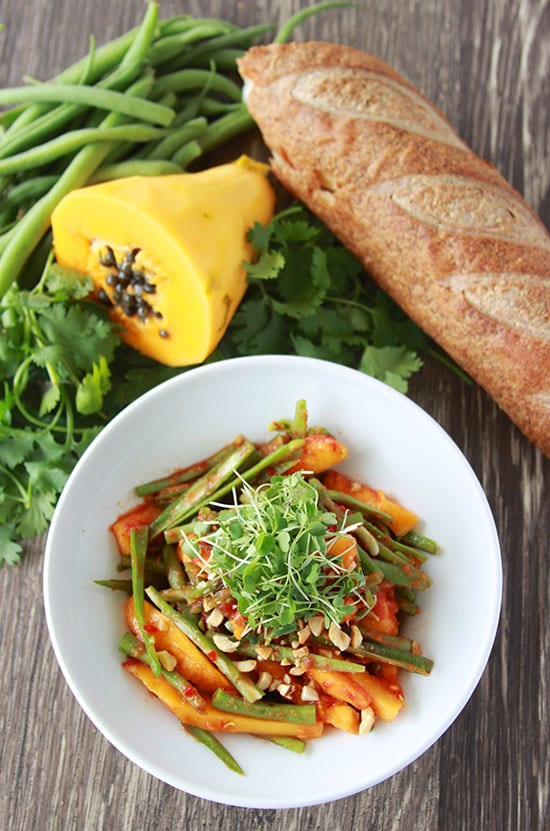 Green Bean and Papaya Salad with Peanuts is a fresh and flavorful salad! www.cookingwithruthie.com