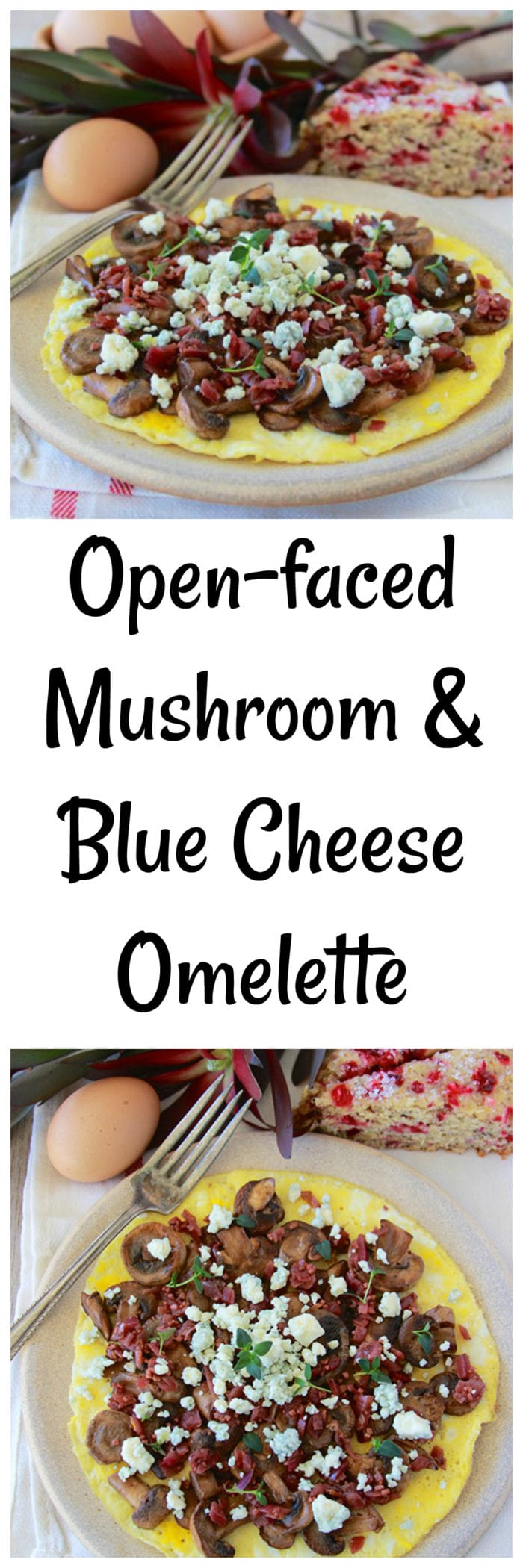 Open-faced Mushroom and Blue Cheese Omelette is a healthy and deliciously simple breakfast for you and your family!www.cookingwithruthie.com