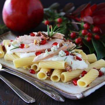 Rigatoni, Pomegranate, Turkey and Blue Cheese-Ricotta Sauce is a lovely way to leftover turkey! www.cookingwithruthie.com