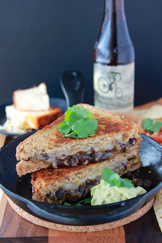 Black Bean Chipotle Grilled Cheese is a delightful spin on the classic grilled cheese! Delish!! www.cookingwithruthie.com