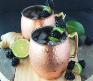 Blackberry Ginger Lime Mules are a fabulous way celebrate St. Patties Day! www.cookingwithruthie.com