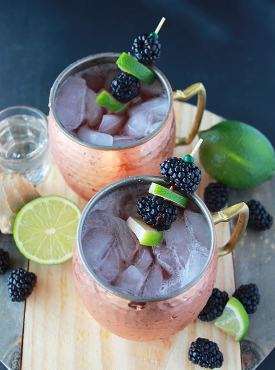 Blackberry Lime Mules are a fabulous cocktail or mocktail for any gathering! www.cookingwithruthie.com