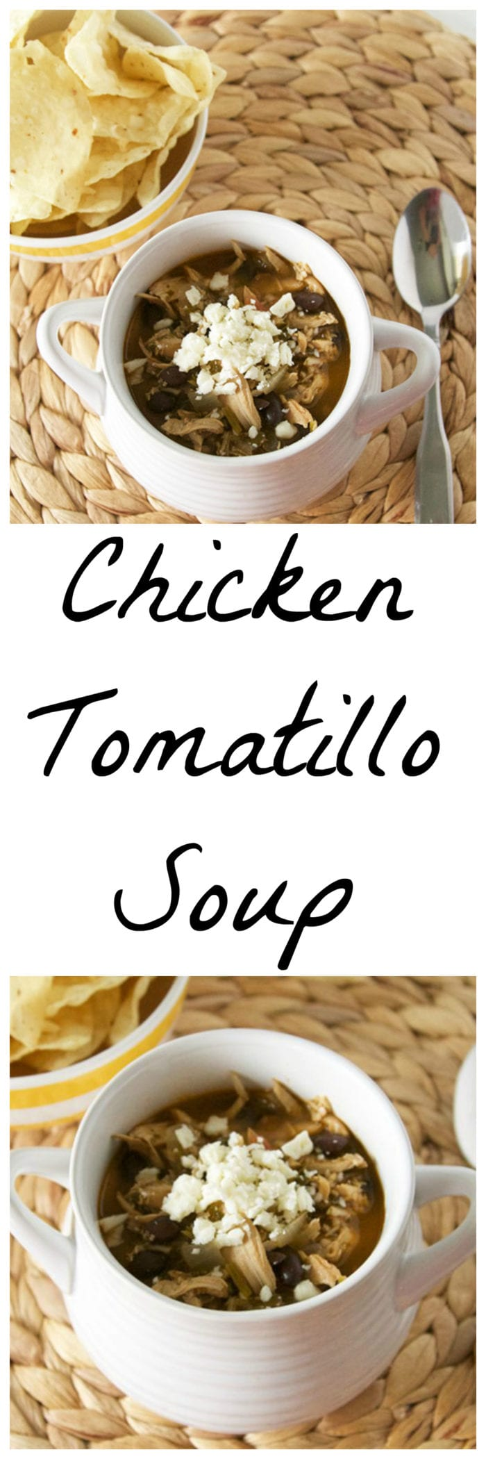 Chicken Tomatillo Soup is a simple slow cooker dinner that everyone will love! www.cookingwithruthie.com
