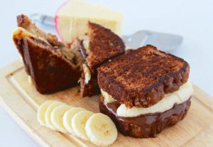 Chocolate Banana Bread Grilled Cheese is going to knock your socks off! This creative recipe is beyond AMAZING!! www.cookingwithruthie.com