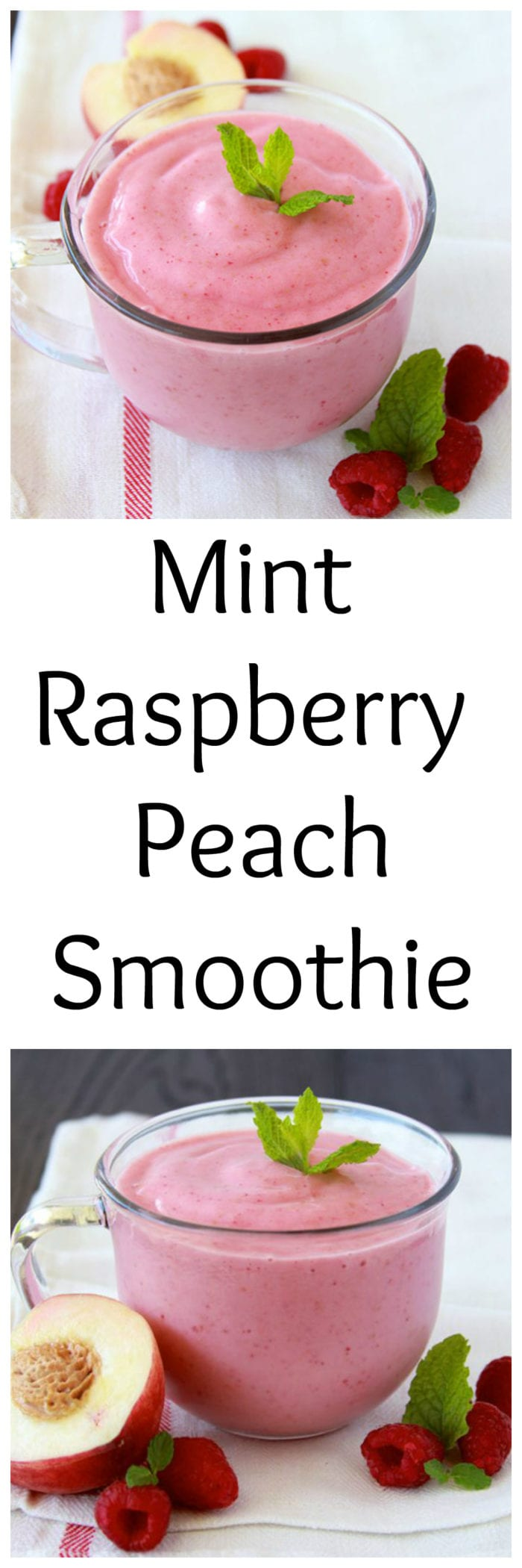 Mint Raspberry Peach Smoothie is packed with protein and it's a super healthy way to start off your day!www.cookingwithruthie.com